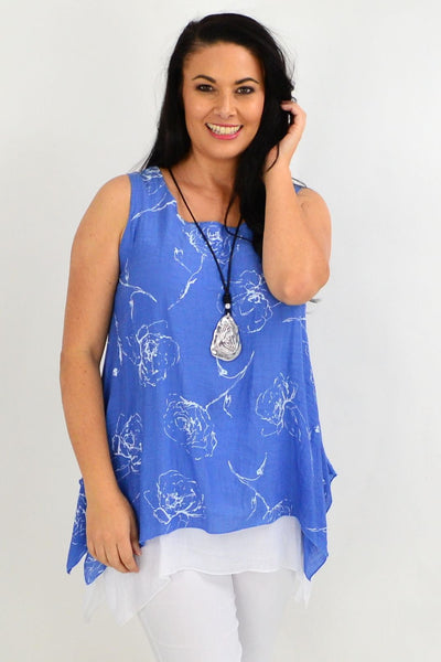 Blue Rose Overlay Tunic Top | I Love Tunics | Tunic Tops | Tunic | Tunic Dresses  | womens clothing online