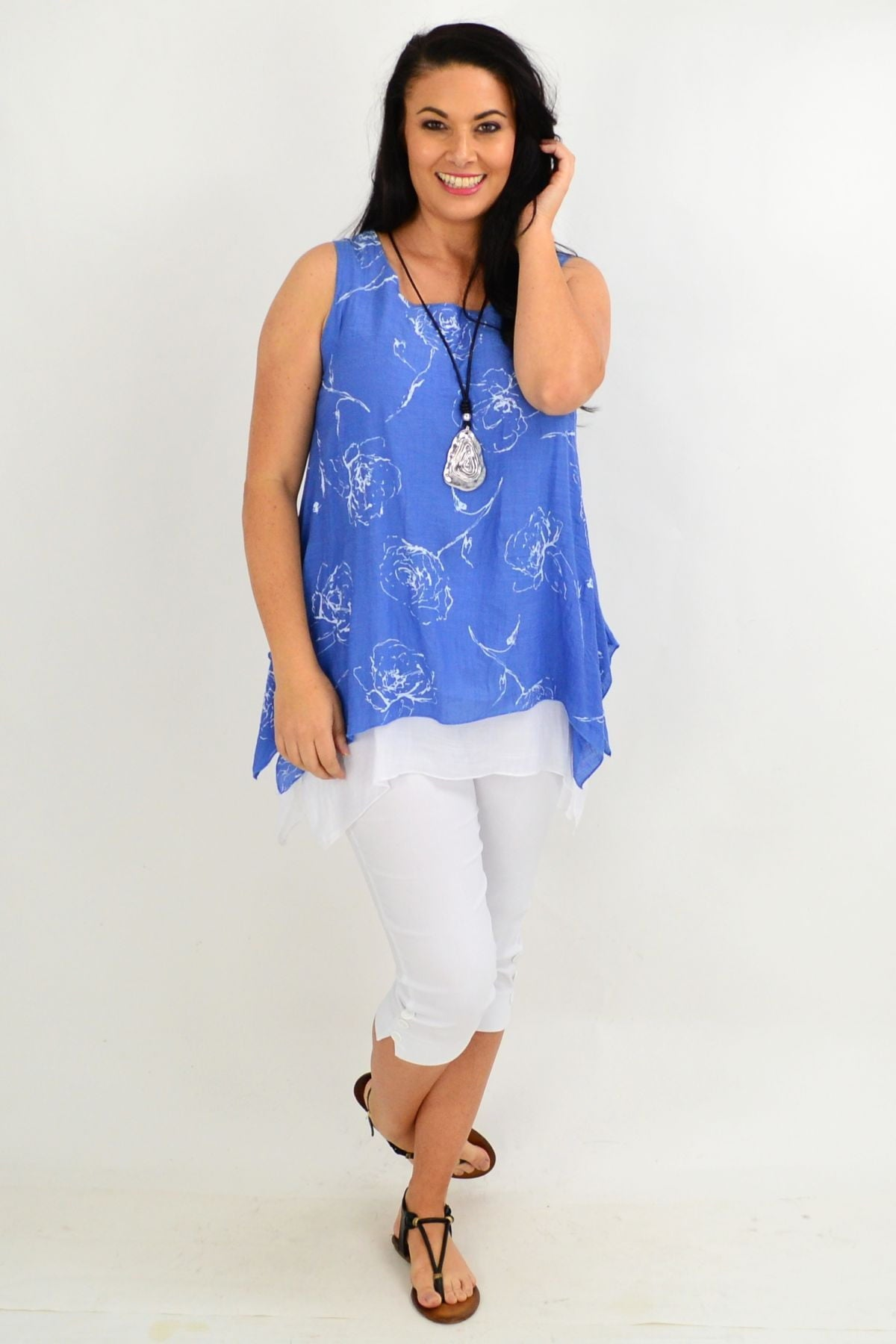 Blue Rose Overlay Tunic Top
