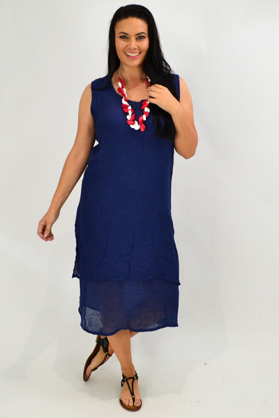 Navy V Sleeveless Layered Tunic Dress