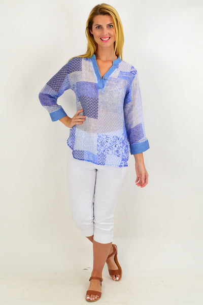 Blue Square Tunic Shirt