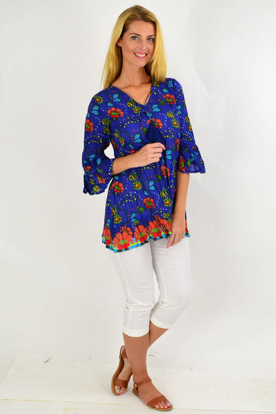 Orange Flower Print Tunic Top