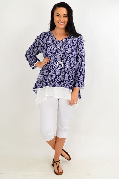 Navy & White Floral Layered Tunic Top
