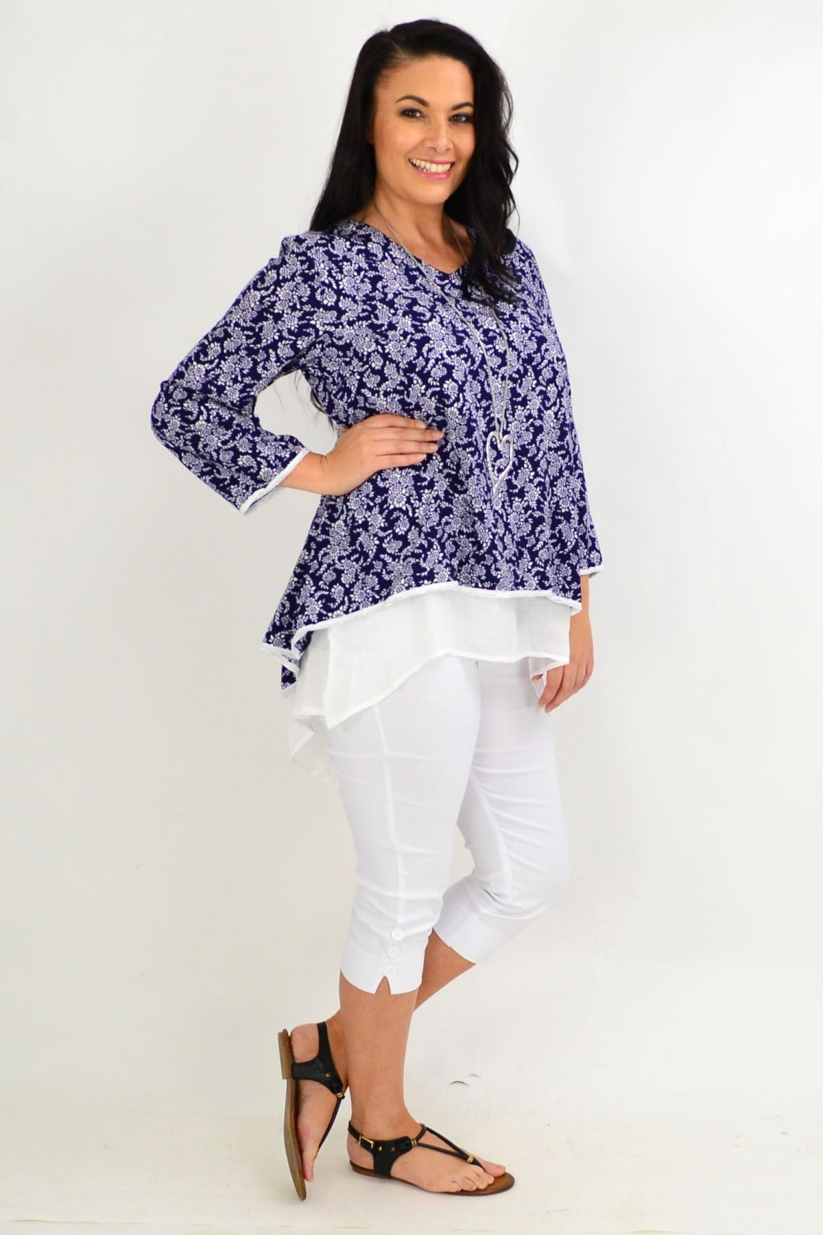 Navy & White Floral Layered Tunic Top | I Love Tunics | Tunic Tops | Tunic | Tunic Dresses  | womens clothing online