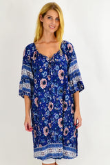Blue Rita Crinkle Tie Long Tunic Dress | I Love Tunics | Tunic Tops | Tunic | Tunic Dresses  | womens clothing online