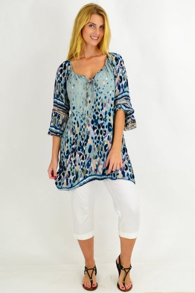 Blue Grey Crinkle Tie Tunic Blouse