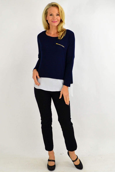 Zip Navy Double Layer Tunic Top