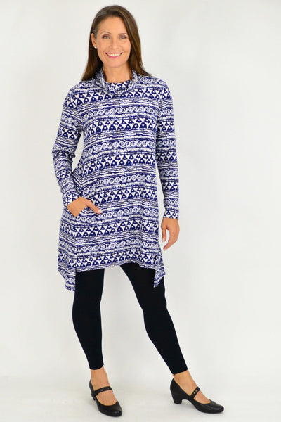 Long Skivvy Abstract Print Tunic
