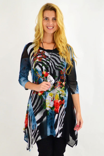 Colourful Trudies Floral Tunic Top | I Love Tunics | Tunic Tops | Tunic | Tunic Dresses  | womens clothing online