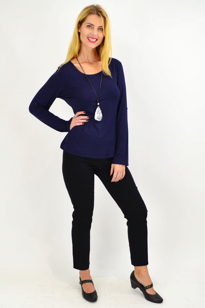 Navy Button Up Long Sleeve Basic Top