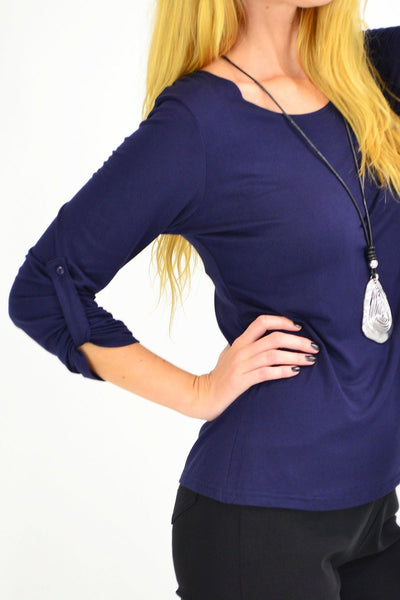 Navy Button Up Long Sleeve Basic Top - I Love Tunics