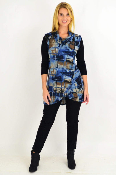 Blue Brick Fold Over Front Tunic Top