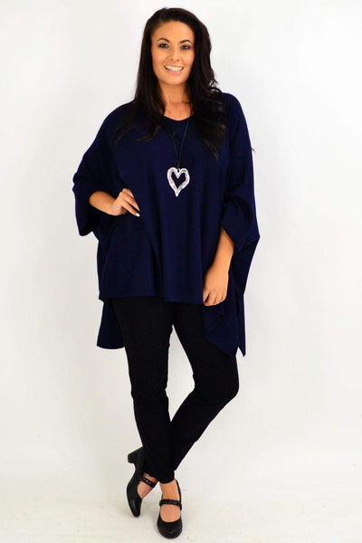 Navy Warm Hug Knit Tunic Poncho | I Love Tunics | Tunic Tops | Tunic | Tunic Dresses  | womens clothing online