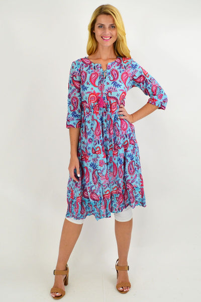 Blue Paisley Tie Neck Tunic Dress - I Love Tunics