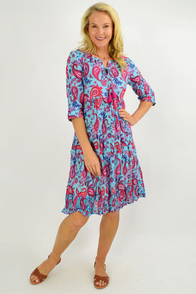 Blue Paisley Tie Neck Tunic Dress