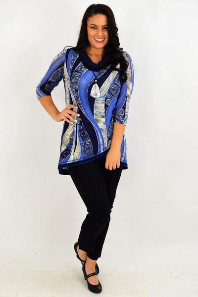 Navy Cowl neck Tunic Top