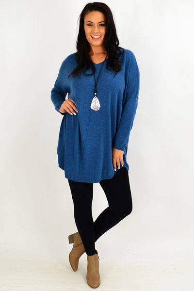 Teal Blue Olivia Knit Tunic Top