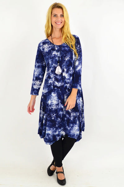 Blue Cloud Cocoon Tunic Dress