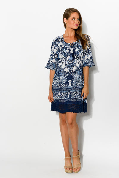 Blue China DWIJ Boho Rayon Tunic Dress