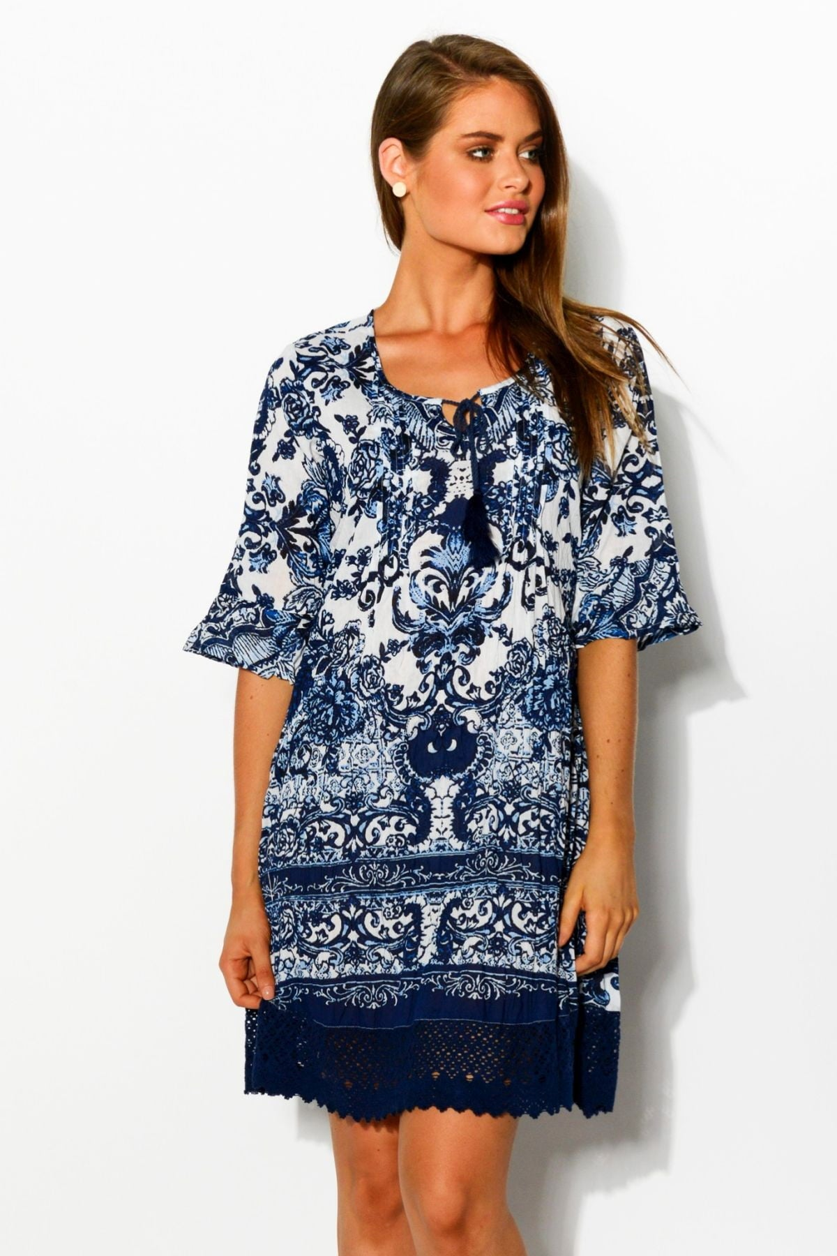 Blue China DWIJ Boho Rayon Tunic Dress | I Love Tunics | Tunic Tops | Tunic Dresses | Women's Tops | Plus Size Australia | Mature Fashion
