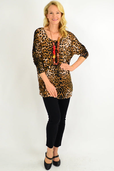 Brown Leopard Wool Blend Tunic Top