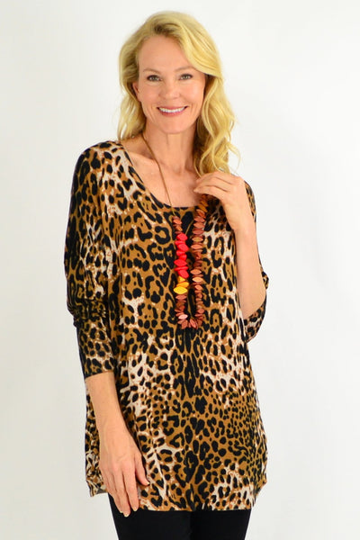 Brown Leopard Wool Blend Tunic - I Love Tunics