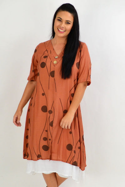 Rust Line Dot Overlay Tunic Dress | I Love Tunics | Tunic Tops | Tunic | Tunic Dresses  | womens clothing online