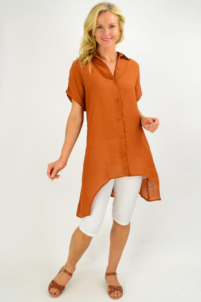 Caramel Button up Sloping Sleeve Tunic Shirt