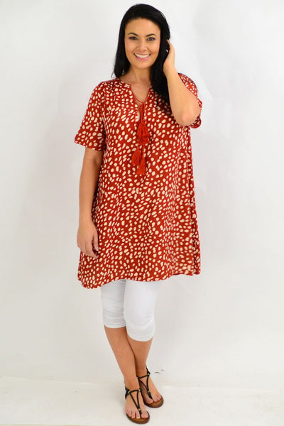 Brown Spot Tie Up Neck Tunic Dress