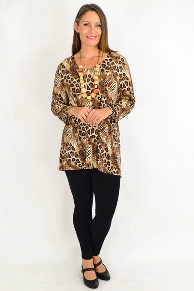 Brown cheetah Tunic