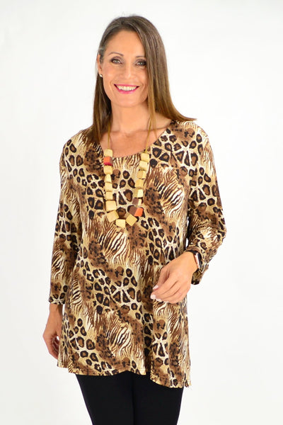 Brown cheetah Tunic | I Love Tunics | Tunic Tops | Tunic Dresses | Women's Tops | Plus Size Australia | Mature Fashion