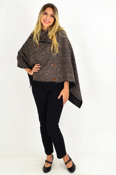 Chocolate Brown Jessie Knit Tunic poncho