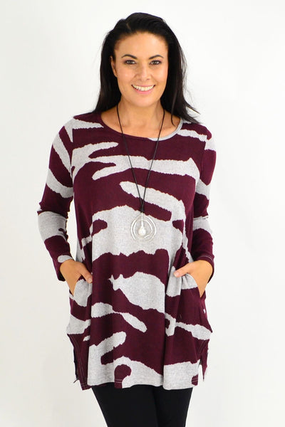 Burgundy Jersey Winter Fleece Tunic Top - I Love Tunics