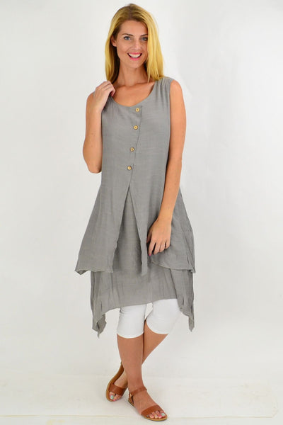 Grey Button Overlay Summer Tunic Dress | I Love Tunics | Tunic Tops | Tunic | Tunic Dresses  | womens clothing online