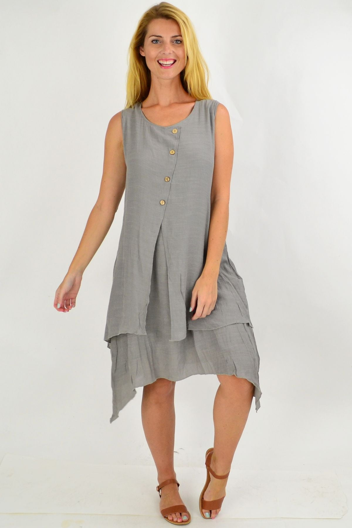 Grey Button Overlay Summer Tunic Dress