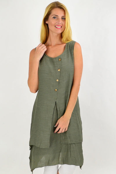Khaki Button Overlay Summer Tunic Dress | I Love Tunics | Tunic Tops | Tunic | Tunic Dresses  | womens clothing online