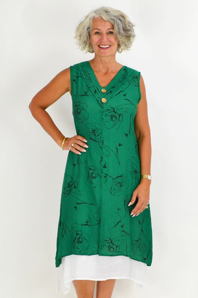 Black Rose Overlay Green Tunic Dress | I Love Tunics | Tunic Tops | Tunic | Tunic Dresses  | womens clothing online