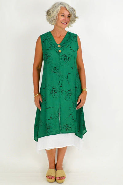 Black Rose Overlay Green Tunic Dress