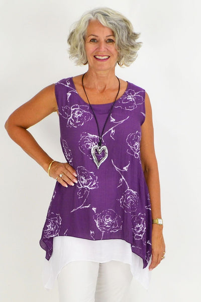 Purple White Rose Overlay Tunic Top | I Love Tunics | Tunic Tops | Tunic | Tunic Dresses  | womens clothing online