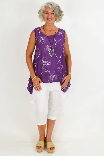 Purple White Rose Overlay Tunic Top