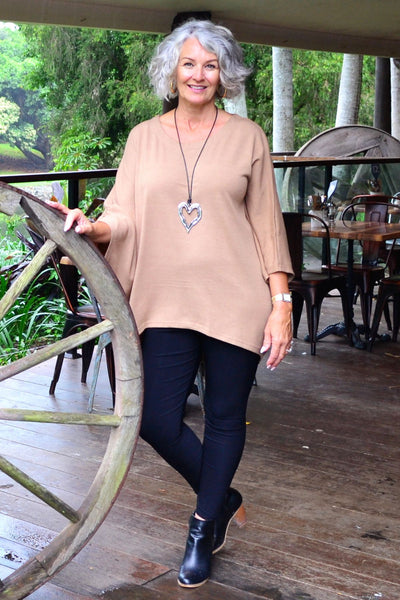 Camel Bamboo Wool Charlotte Tunic | I Love Tunics | Tunic Tops | Tunic Dresses | Women's Tops | Plus Size Australia | Mature Fashion