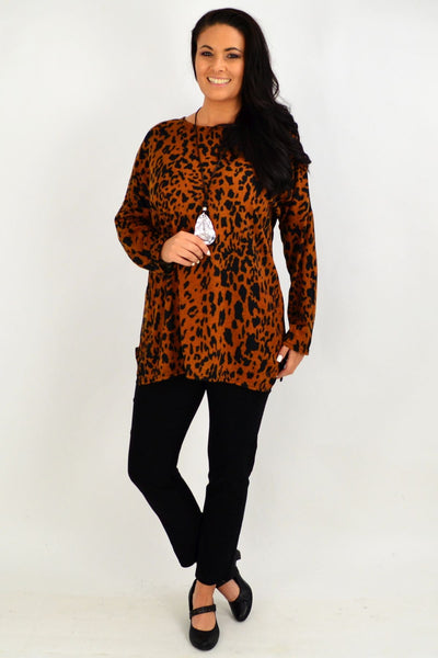 Caramel Animal Print Winter Tunic Top