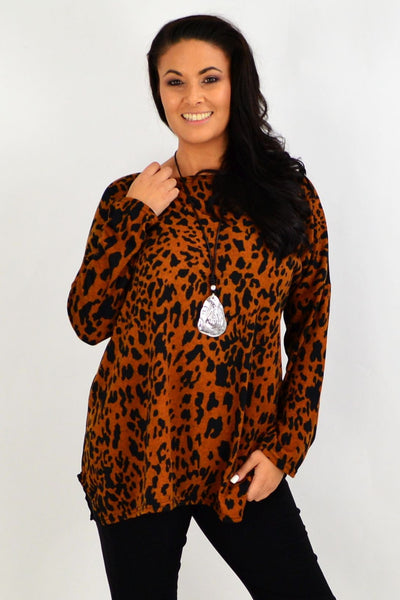 Caramel Animal Print Winter Tunic Top | I Love Tunics | Tunic Tops | Tunic | Tunic Dresses  | womens clothing online