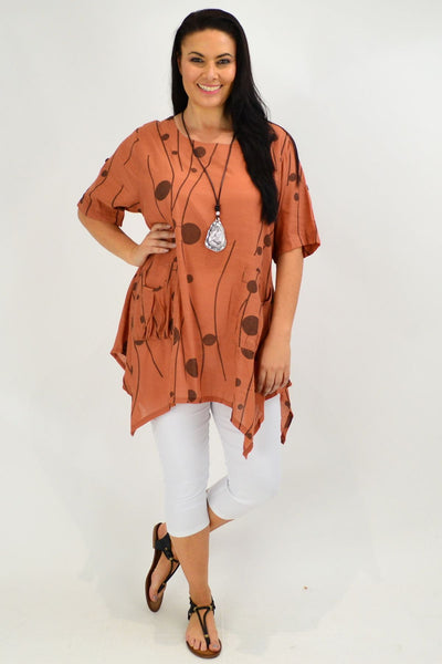 Caramel Deb Dots Relaxed Tunic Top - I Love Tunics