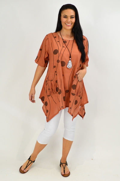 Caramel Deb Dots Relaxed Tunic Top