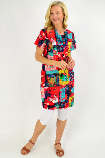 Colourful Sparrow Shift Tunic Dress