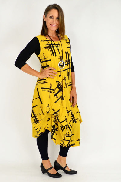 Mustard Coby Panel Cotton Tunic Dress