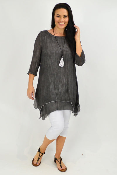 Charcoal Textured 3/4 Sleeve Overlay Tunic Top