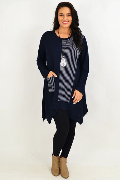 Navy Stripe Print Tunic Top by Clarity