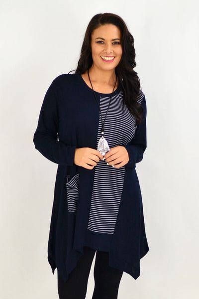 Navy Stripe Print Tunic Top by Clarity | I Love Tunics | Tunic Tops | Tunic | Tunic Dresses  | womens clothing online