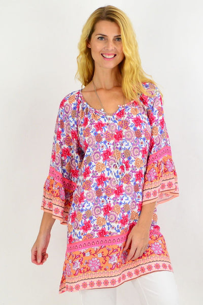 Bouquet of Flowers Light & Pretty Tunic Top